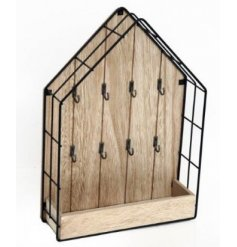 A Wood & Wire House with hooks for Key Storage