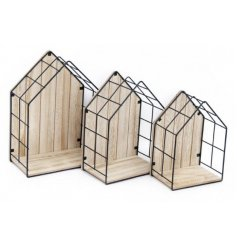A set of 3 Wood & Wire House Shaped Display Units