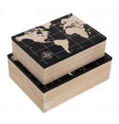 A set of 2 World Map Design Storage Boxes