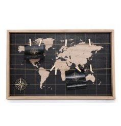 A Black World Map Peg Board