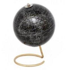 A Black/Gold World Globe