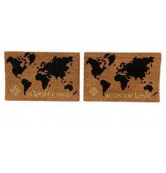 An assortment of 2 World Slogan Doormats