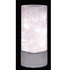 Bring a beautiful warm glow to any home in the evenings with this standing glass decoration with an added LED fitting