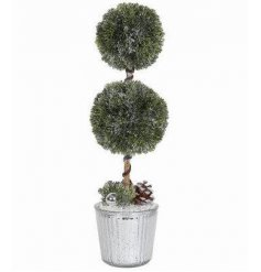 A stunning double artificial topiary plant with a glamorous silver pot. Complete with pinecones and baubles.