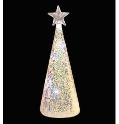 A beautiful cone shaped Christmas tree with a star topper, LED lights and a glittering finish.