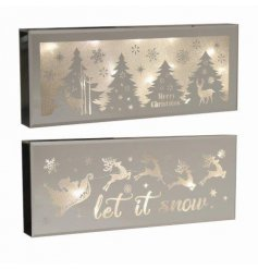 Merry Christmas and Let it Snow. A mix of two beautiful LED Christmas scene signs with a delicate silhouette.