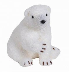 A charming sitting polar bear decoration with a glittering coat. A stylish item for the home to be enjoyed each year.