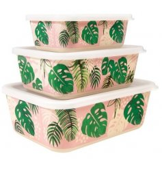 A set of 3 Tropical Palm Rectangular Storage Boxes