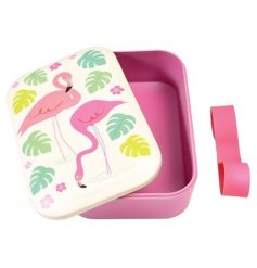 A pretty pink toned bento box with a fun Flamingo themed lid and added rubber band secure