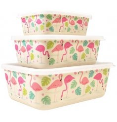 A set of 3 Flamingo Bay Rectangular Storage Boxes