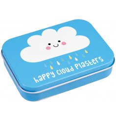 With a cheerful Happy Cloud print and assorted sized plasters, this little metal tin filled with plasters will be handy