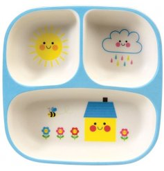A Baby Food tray with Happy Cloud Sun House design