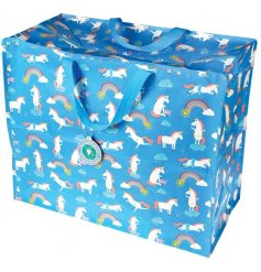 Covered in a magical unicorn design, this blue themed nylon handled jumbo bag is perfect for storage!
