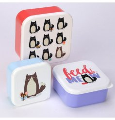 A set of 3 Feline Fine Feed Me Meow Lunch Boxes