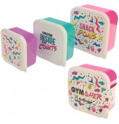 A set of 3 Gym & Her Stackable Lunch Boxes