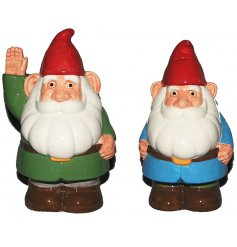 An assortment of 2 Garden Gnome Ceramic Money Boxes