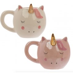 An assortment of 2 Enchanted Unicorn Ceramic Shaped Mugs