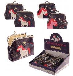An Enchanted Unicorns & Rainbows themed black Coin Purse