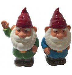 A set of Garden Gnome Waving Ceramic Salt And Pepper shakers