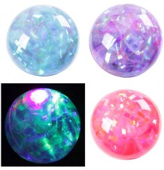 An assortment of 4 Flashing Glitter Stripe Bouncy Balls