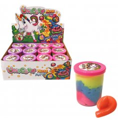 A mix of colourful Unicorn Poo Noise Putty
