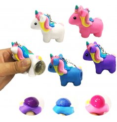 An assortment of 4 Squeezy Unicorn Pooping keyrings