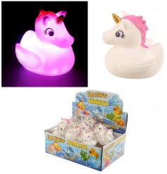 A Pink Light Up Unicorn Bath Toy