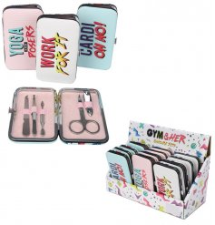 An assortment of 3 Gym & Her Slogan Manicure Sets