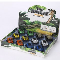 An assortment of 6 jungle print themed Pull Back Mini Racing Cars