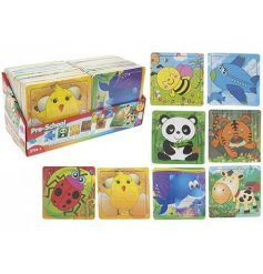 A fun assortment of wooden based puzzles each finished with a printed animal design