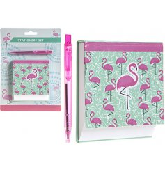 A Flamingo themed Memo Pad & Pen Set