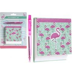 A Flamingo Design Memo Pad & Pen Set
