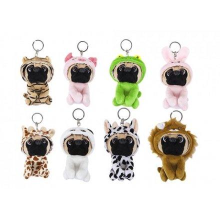 Assorted Dressed Pug Keyrings