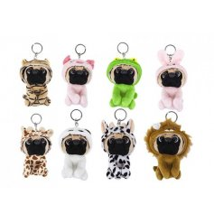 An adorable mix of 8 snuggly pug soft toy keyrings each dressed as a different animal.