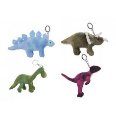Add a ROARsome touch to your keysets or backpacks with this fun assortment of plush dino keyrings