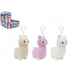 An adorable assortment of 3 fluffy soft toy Alpaca keyclips