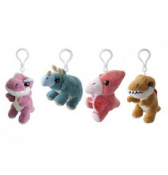 Add a ROARsome touch to your little ones backpacks with this fun assortment of plush dino keyrings