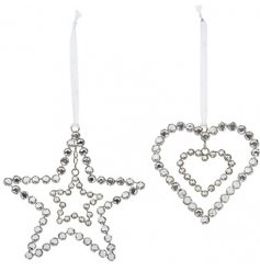 An assortment of 2 beautiful jewelled decorations in heart and star designs. Complete with organza ribbon to hang.