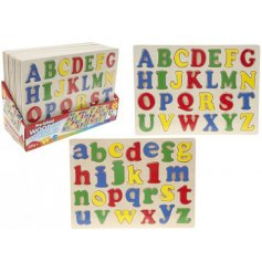 An assortment of 2 Wooden Alphabet Pull Out Puzzles
