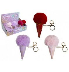Bring a funky fuzzy touch to your backpack, handbag or purse with this assortment of icecream cone shaped pompom keyrin