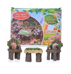 A set of Fairy Garden Bench & Chairs