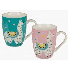 An assortment of 2 Pink & Teal Llama Mugs