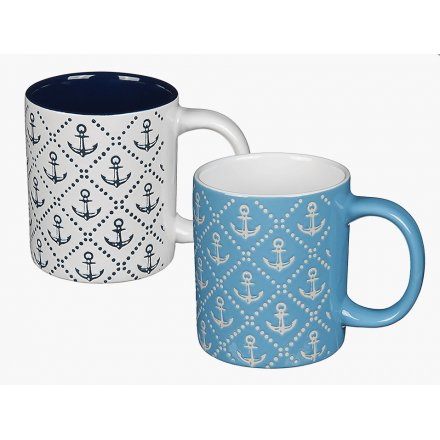 Blue/White Anchor Mugs, 2 assorted
