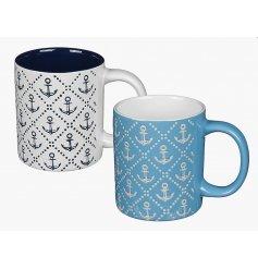 An assortment of 2 Blue/White Anchor Mugs