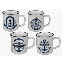 An assortment of 4 Blue/White Nautical Stoneware Mugs