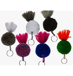 An assortment of 6 Pom Pom Tassle Keyrings