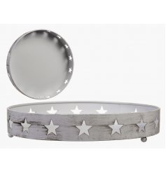 A White Metal Star Tray, 26cm