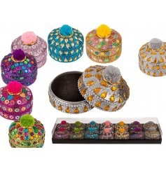 Safely store away all your small trinkets or jewellery in this colourful assortment of jewellery covered pompom topped