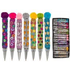 Write out all your memos, reminders or journal entries with this funky assortment of jewel covered, pompom topped writi