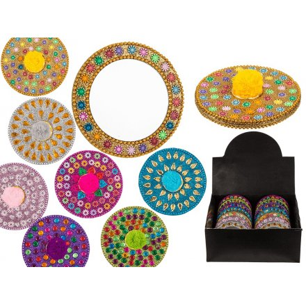 Multicoloured Pompom Jewelled Compact Mirrors